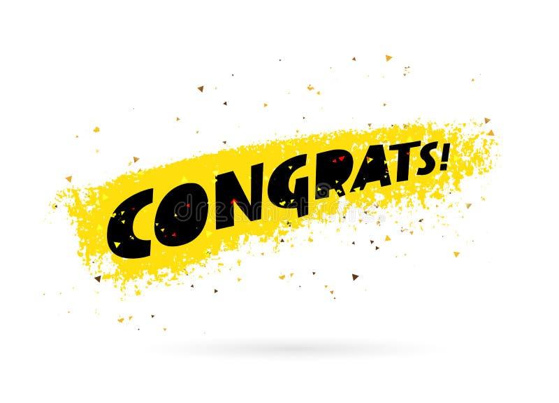 Congrats! Inscrição Rotulação da tendência ilustração royalty free