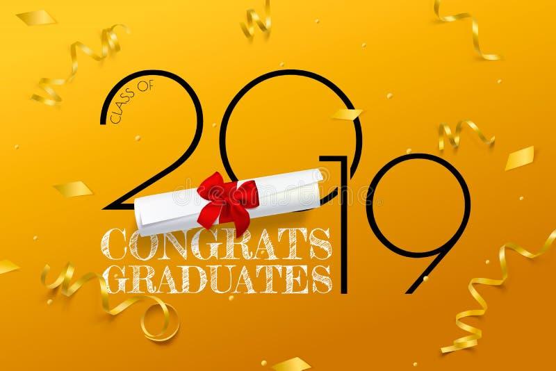 Congrats kandidater M?rka f?r avl?ggande av examengrupp av 2019 Vektortext f?r avl?ggande av examendesignen, lyck?nskanh?ndelse,  stock illustrationer