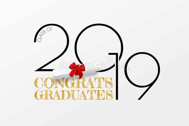 Congrats kandidater M?rka f?r avl?ggande av examengrupp av 2019 Vektortext för avläggande av examendesignen, lyckönskanhändelse,  vektor illustrationer