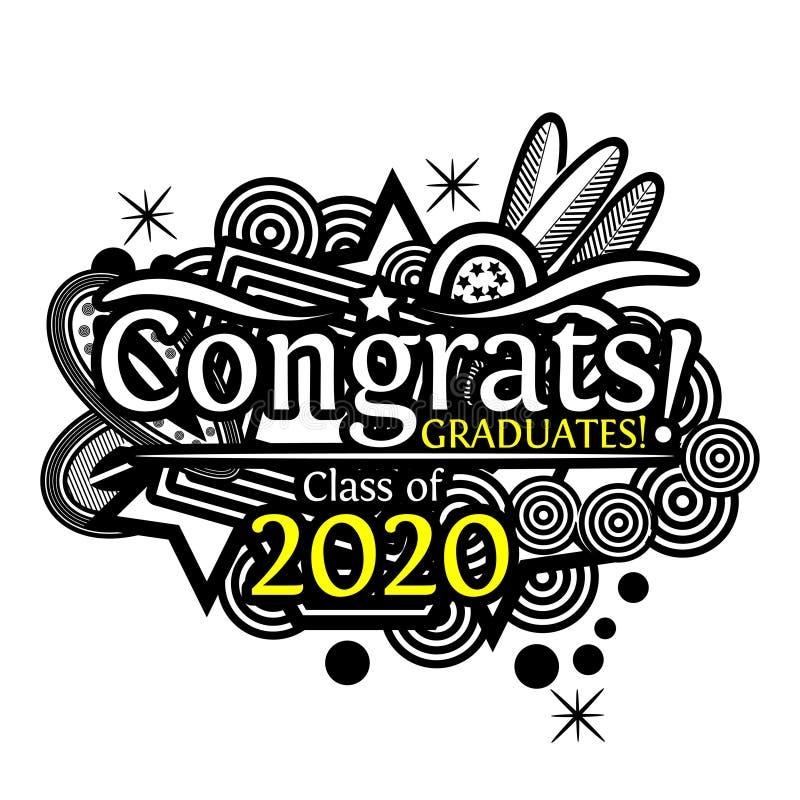 Congrats op graduatieklasse van 2020 op krabbelachtergrond vector illustratie