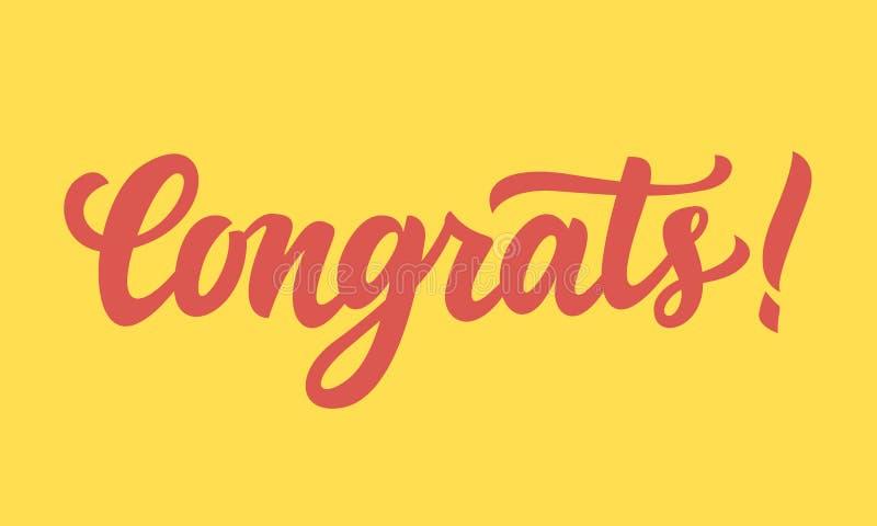 Congrats! Ręka pisać literowanie royalty ilustracja