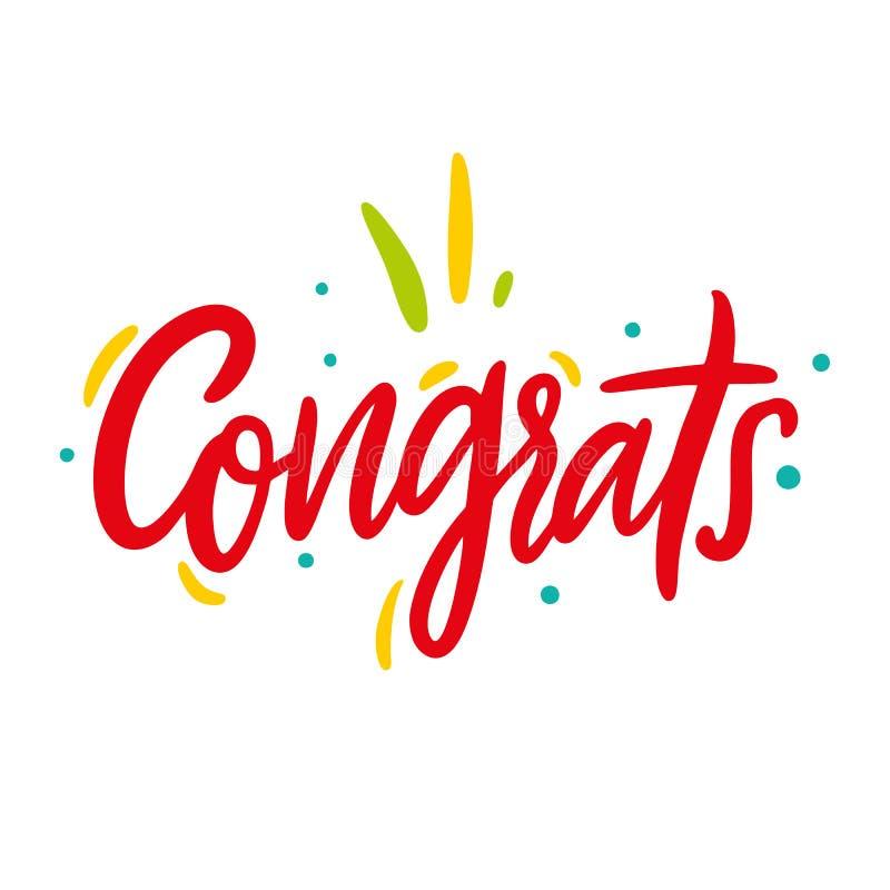 Congrats ręka pisać literowanie dla gratulacj karta, kartka z pozdrowieniami, zaproszenie, plakat i druk, Nowożytna szczotkarska  obraz stock