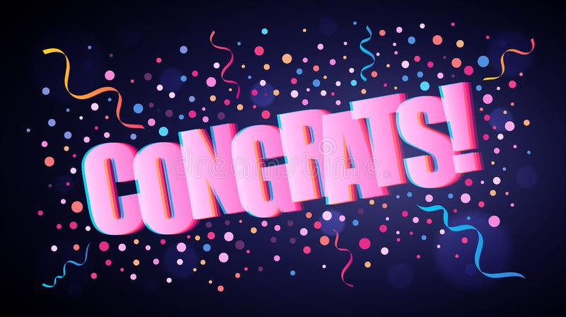 Congrats som överlappar festlig bokstäver med färgrika runda konfettier vektor illustrationer
