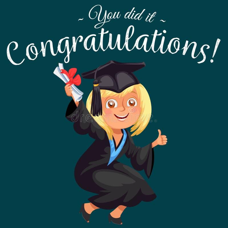 Congrats suckar den färgrika plana affischen med den lyckliga doktorand- tummen för den berömavläggande av examendagen och visnin royaltyfri illustrationer