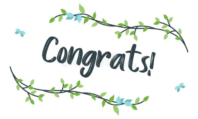 Congrats, tipograf?a de la enhorabuena con el marco floral, vector para saludar libre illustration