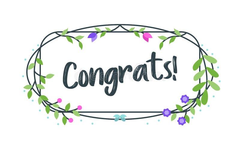 Congrats, tipograf?a de la enhorabuena con el marco floral, vector para saludar stock de ilustración
