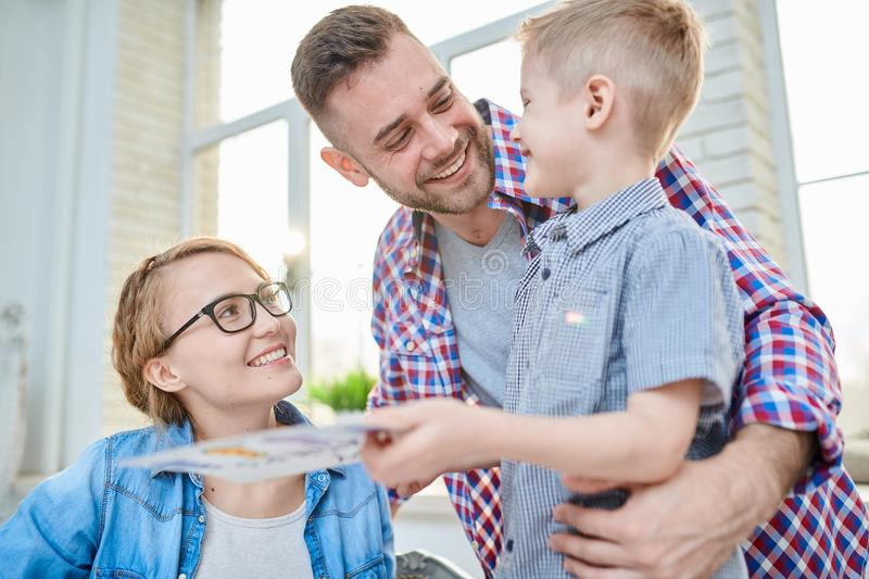 Congratulating Dad with Fathers Day royalty free stock photo
