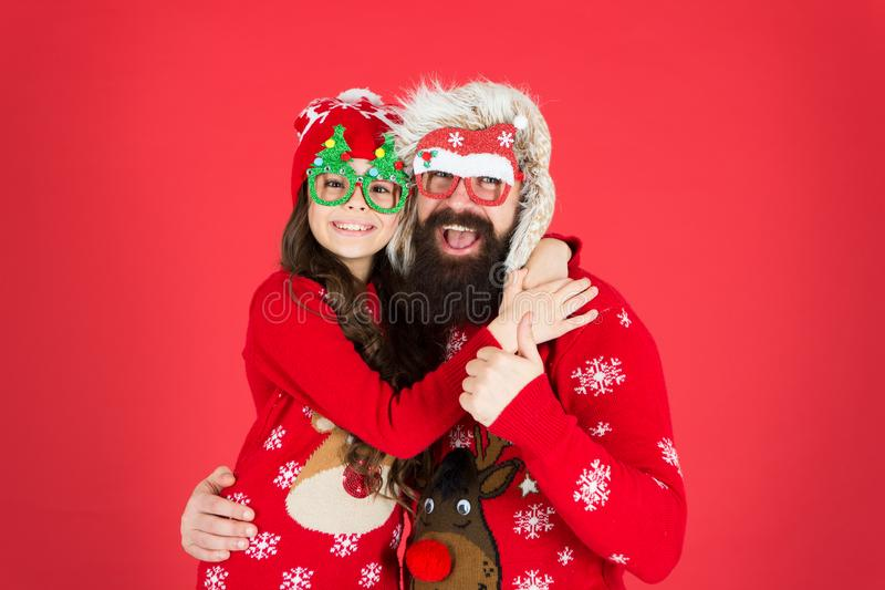 Congratulating nearest. family holiday. warm in winter. merry christmas. child and santa man on party. love and joy. Congratulating nearest. family holiday. warm stock photography