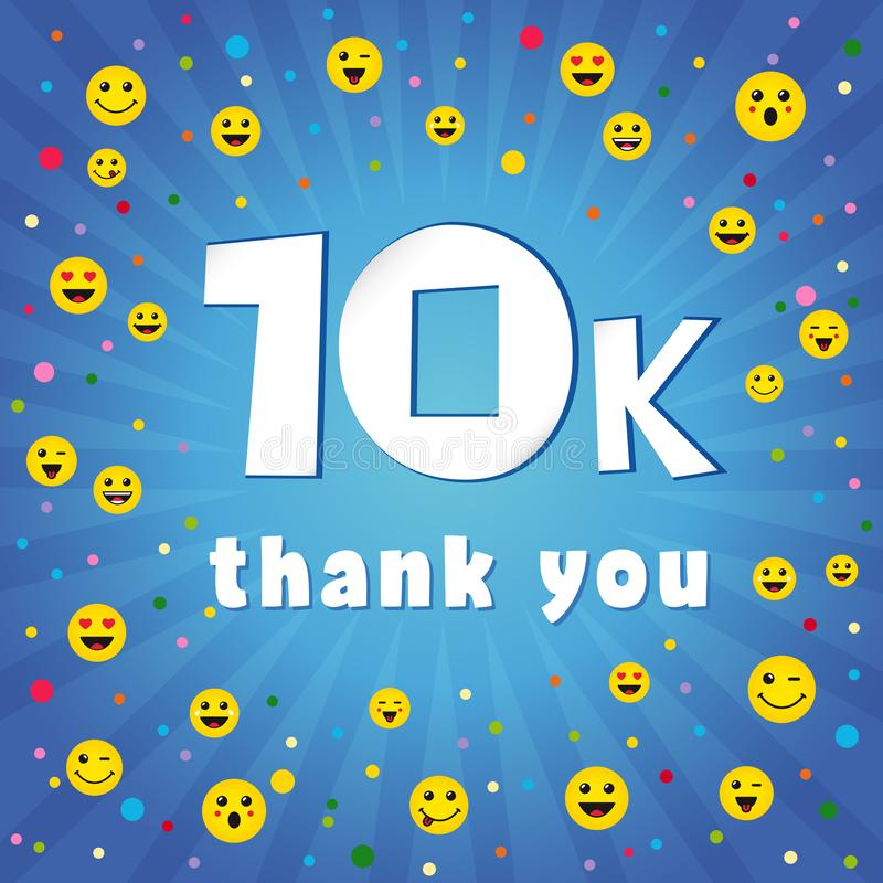 Thank you 10000k followers logo. stock illustration