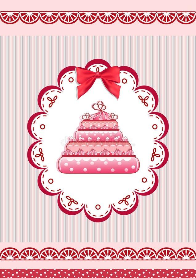Congratulation Card With Cake. Royalty Free Stock Photos