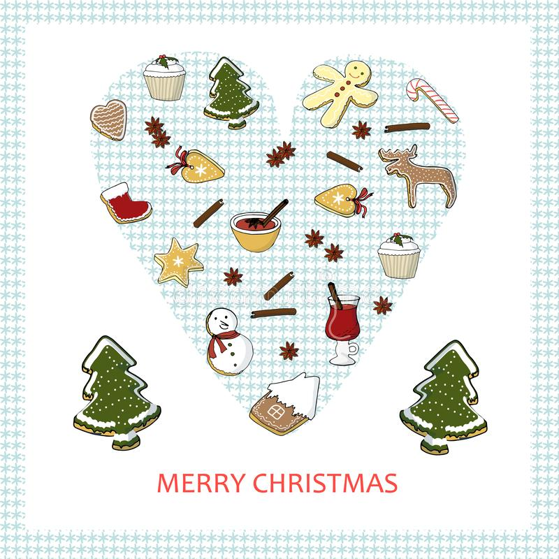 Congratulation card Merry Christmas. Winter different desserts on blue snowflake heart. Hand drawn color stock vector illustration for banner, for restaurant stock illustration
