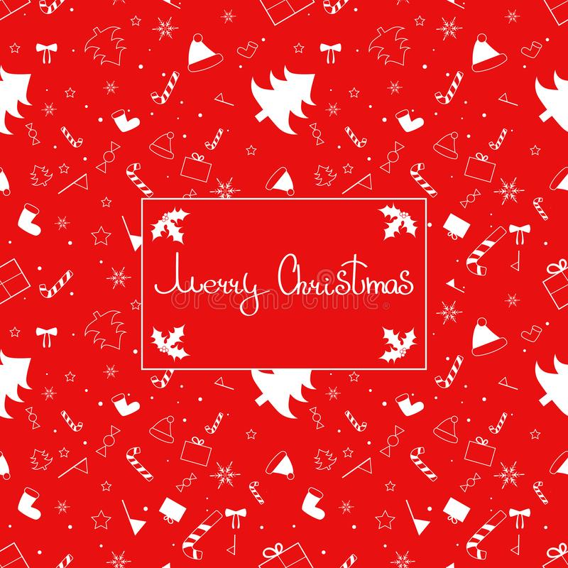 Congratulation with christmas on red background with pattern. Art can be used for wallpaper, background, poster, postcard, holiday packing royalty free illustration