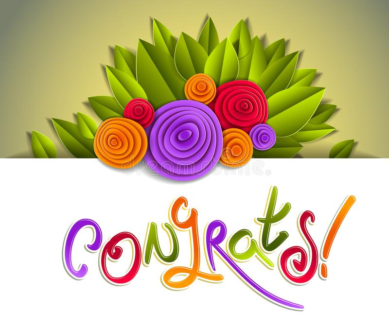Congratulation congrats greeting card with fresh green leaves royalty free illustration