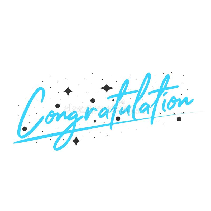 Congratulation. Image description, card, text, poster, quote, graphic, illustration, design, decoration, background, lettering, typography, banner, font stock illustration