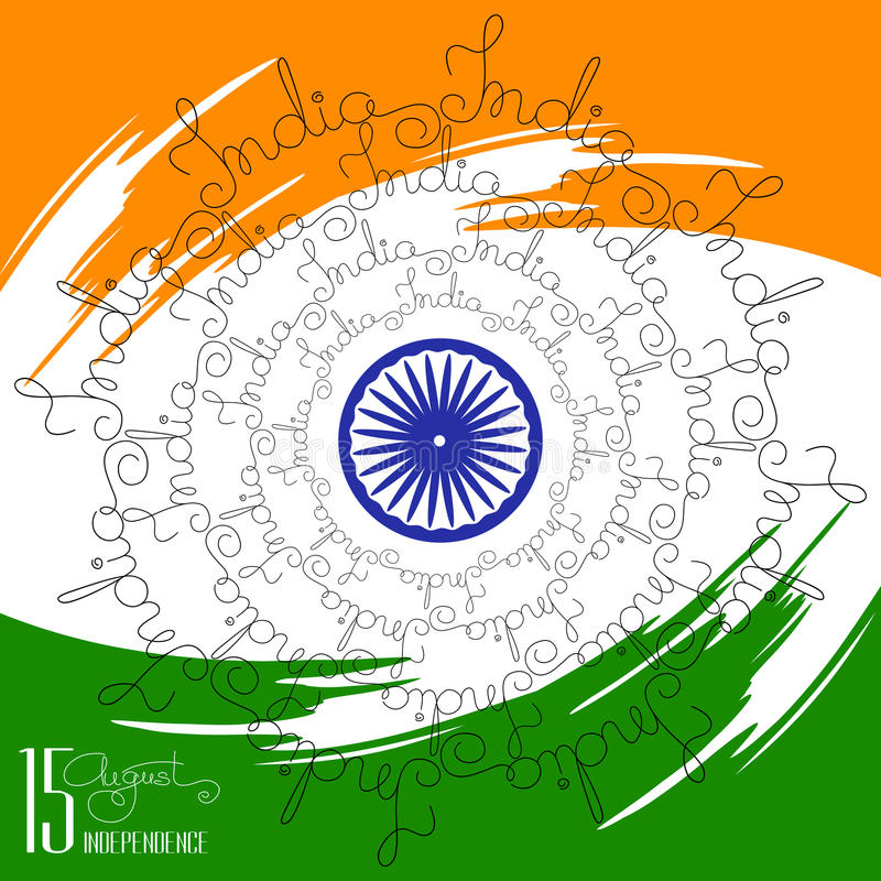 Congratulation Independence Day with handwritten word India. vector illustration