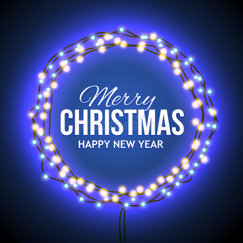 Congratulation to Christmas with blue lights. Round frame with glowing lights, garlands of blue with the words Merry Christmas.. Background on sale, discounts stock illustration