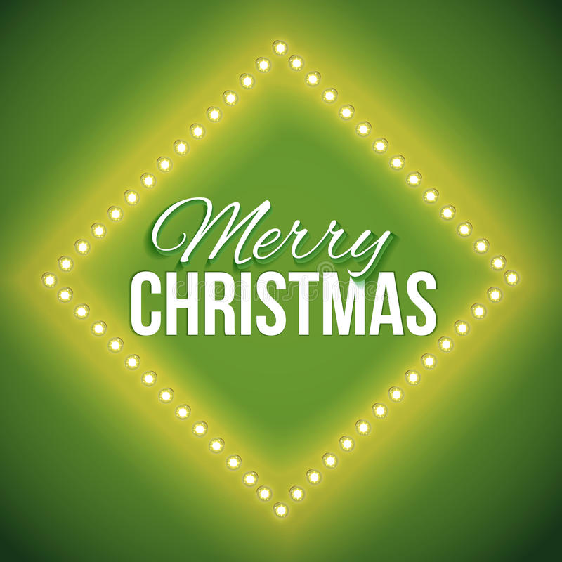 Congratulation to Christmas with green lights. Round frame with glowing lights, garlands of green with the words Merry Christmas.. Background on sale, discounts royalty free illustration