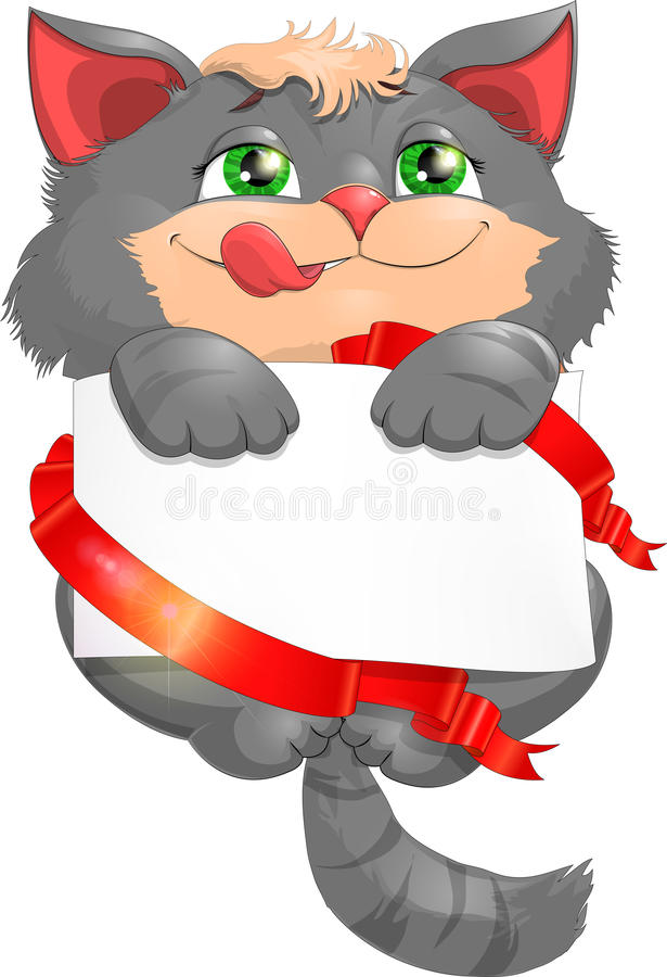 Congratulation to a kitten. With a form for congratulations stock illustration