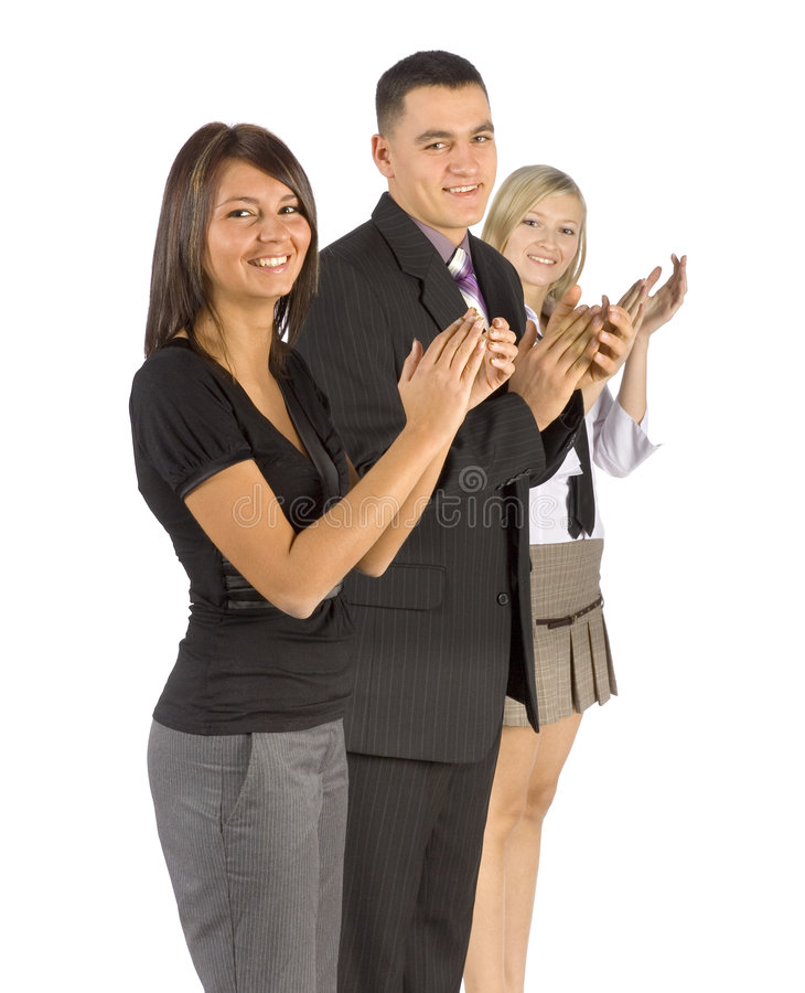 Congratulations!. Three happy and smiling business people, one man and two women, applaud your success stock photo