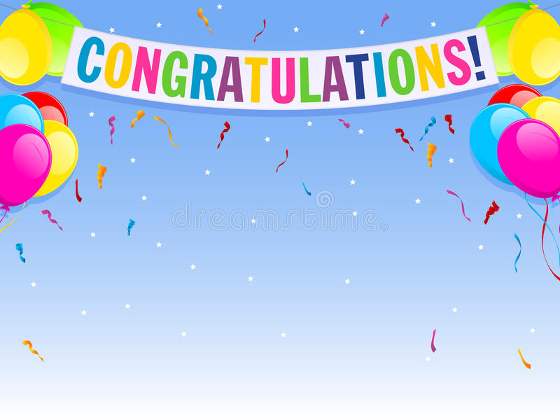 Congratulations. An illustration of a brightly colored banner and background offering congratulations vector illustration
