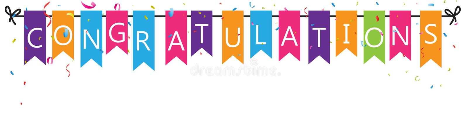 Congratulations with bunting flags. Illustration of Congratulations with bunting flags stock illustration