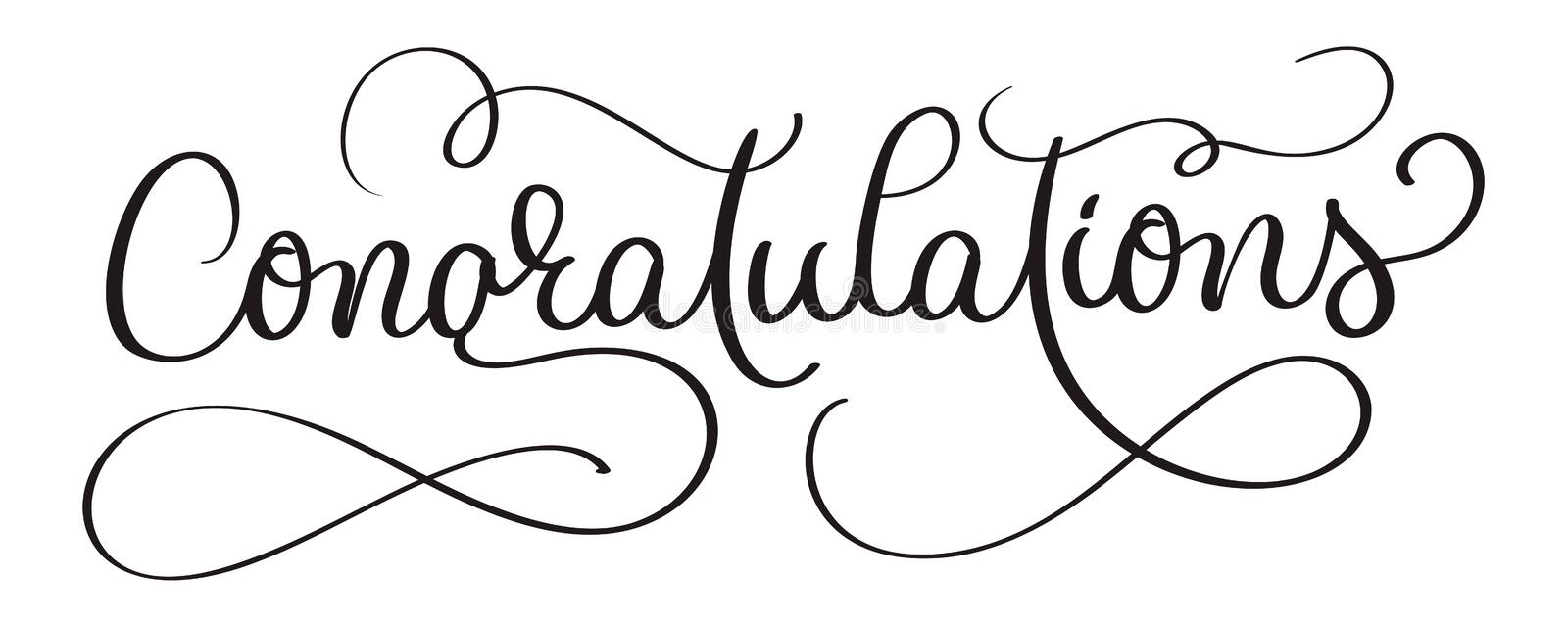 Congratulations calligraphy Lettering vector Hand written text on white background. Calligraphic banner royalty free illustration