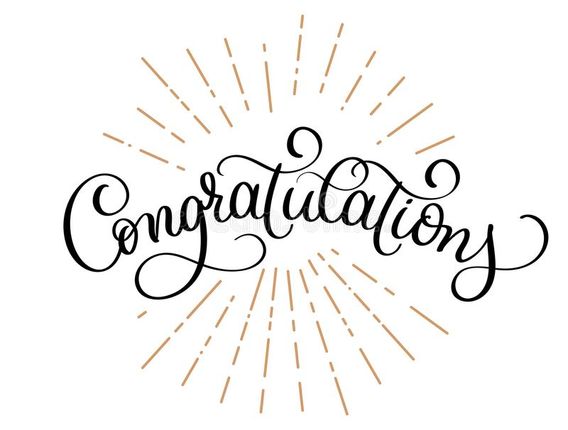 Congratulations calligraphy vector Hand written text. Lettering. Calligraphic banner stock illustration