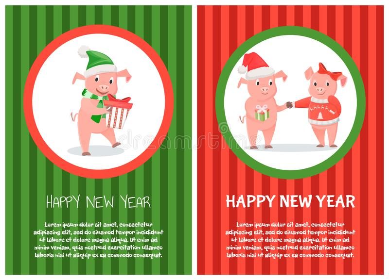 Congratulations Card New 2019 Year Piggy Vector royalty free illustration