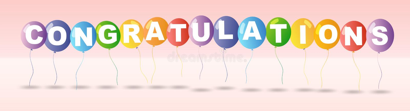 Congratulations card template with colorful balloons. Illustration stock illustration