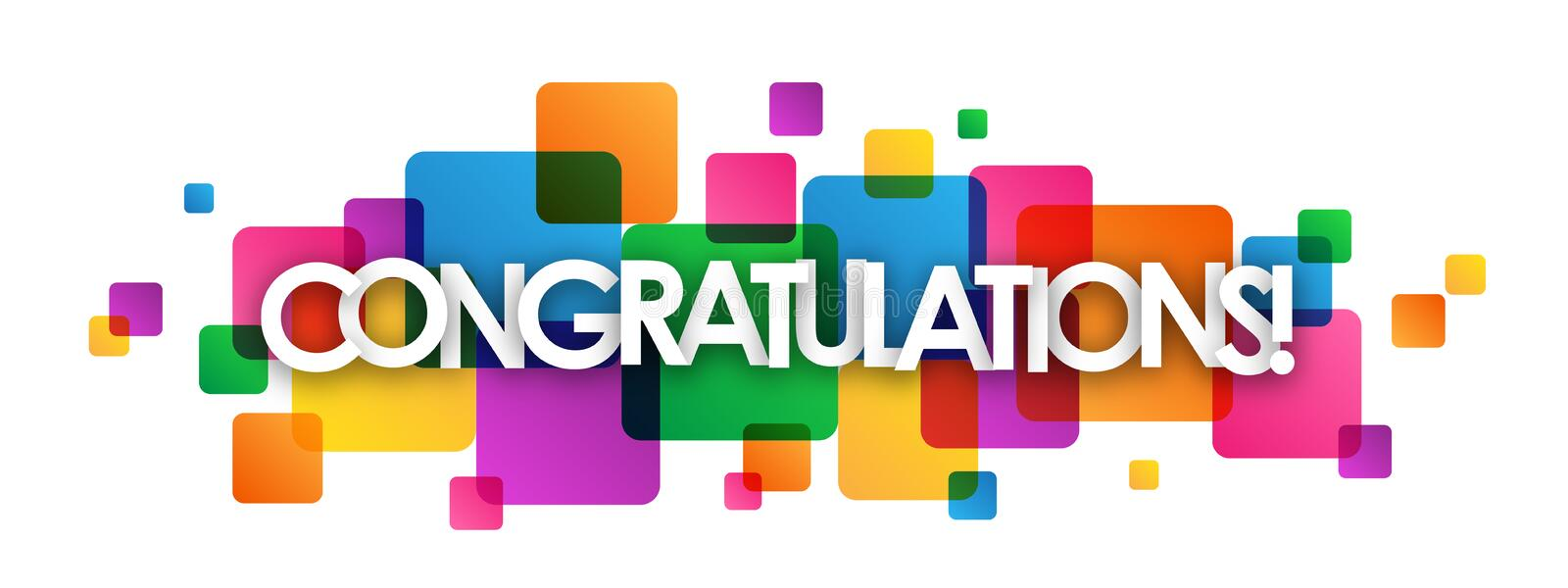 CONGRATULATIONS! colorful overlapping squares banner royalty free stock photography