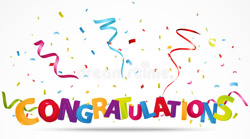 Congratulations with confetti royalty free illustration