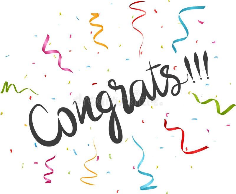 Congratulations With Confetti Stock Vector Illustration