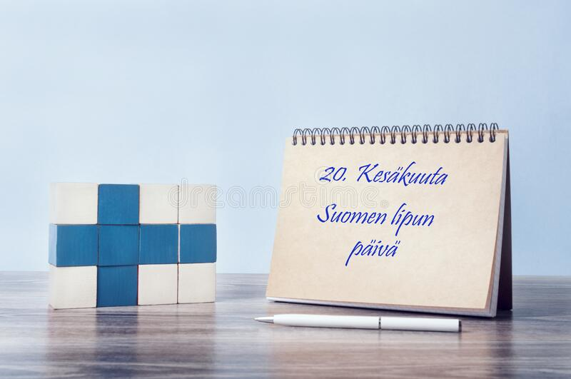 Congratulations on the day of the Finnish flag. stock photo