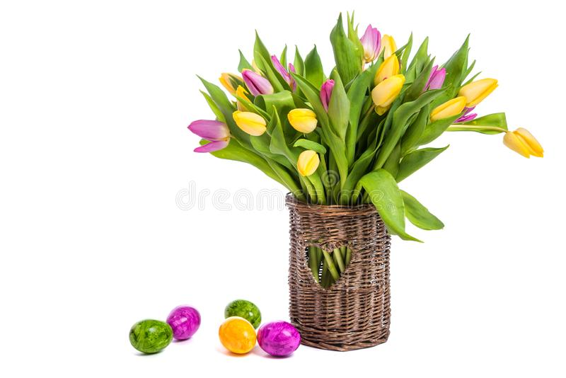 Congratulations on Easter. Tulips in a vase and easter eggs. Isolate on white background stock photos