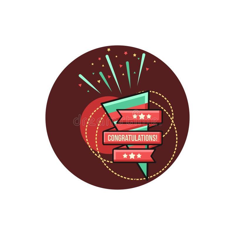 Congratulations Felicitation in Circle Confetti Fireworks Illustration vector illustration