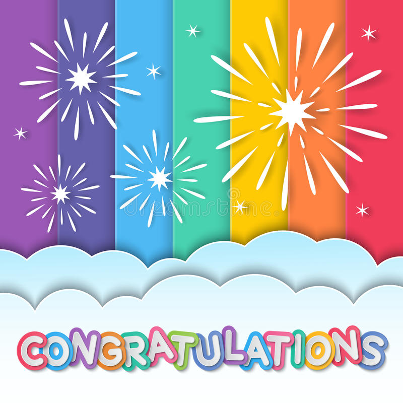 Congratulations fireworks vector illustration