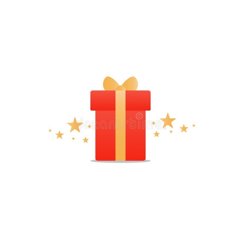 Congratulations gift box, perfect present, prize award icon stock illustration