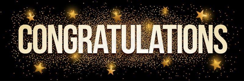 Congratulations golden glitter background banner. royalty free illustration