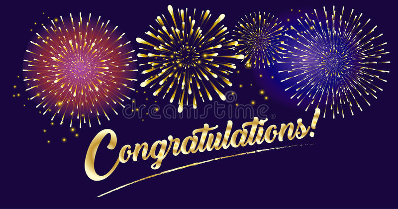Congratulations fireworks 2019 royalty free illustration