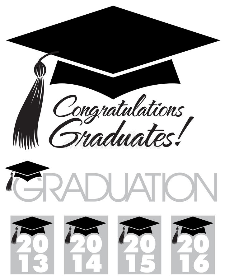 Congratulations Graduates Cap/eps. Illustration of a graduation cap with tassle and the headlines Congratulations Graduates, Graduation and graphics for the