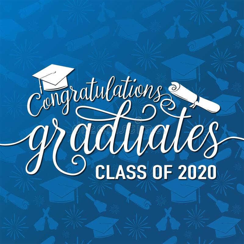 Congratulations graduates 2020 class of vector illustration on seamless grad background, white sign for the graduation. Party. Typography greeting, invitation royalty free illustration