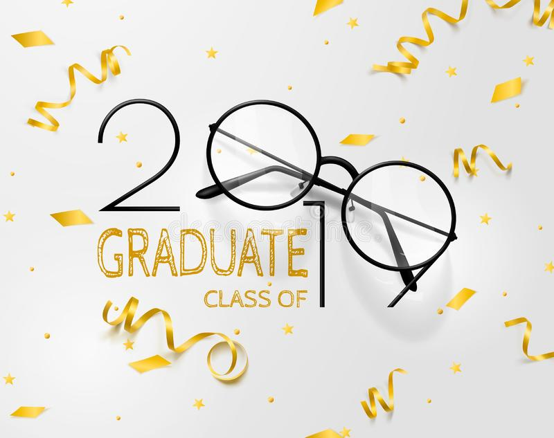 Congratulations graduates. Lettering for graduation class of 2019. Vector text for graduation design, congratulation event, party royalty free illustration