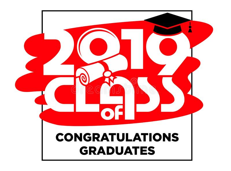 2019 congratulations graduates vector card, T-shirt design vector illustration