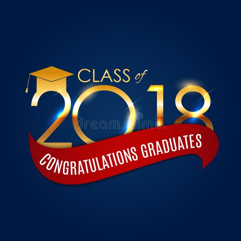 Congratulations on Graduation 2018 Class Background Vector Illustration stock illustration