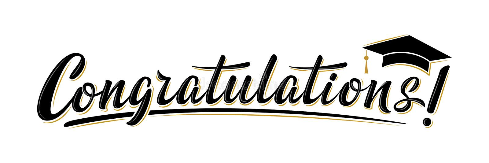 Congratulations! greeting sign for graduation party in university, school, academy. Handwritten brush lettering with academic cap. Vector design for