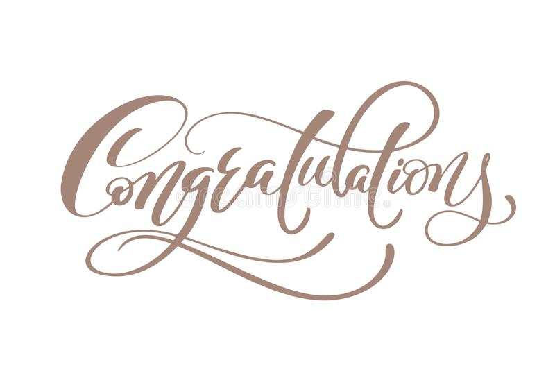 Congratulations Hand lettering Calligraphic greeting inscription Vector handwritten vector illustration