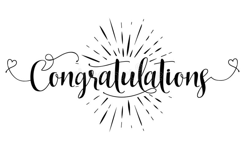 Congratulations - Hand lettering typography stock photo