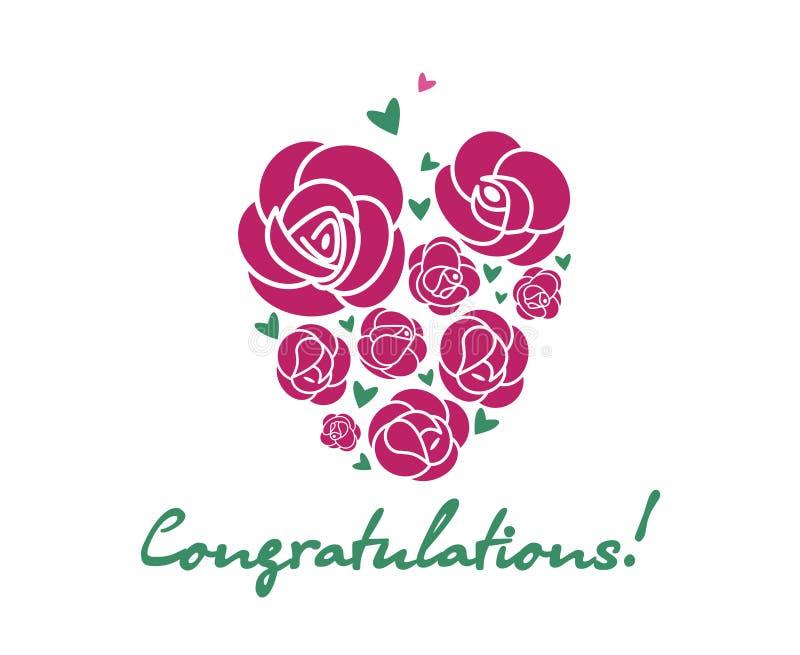 Congratulations Rose heart and handwritten greeting text vector illustration