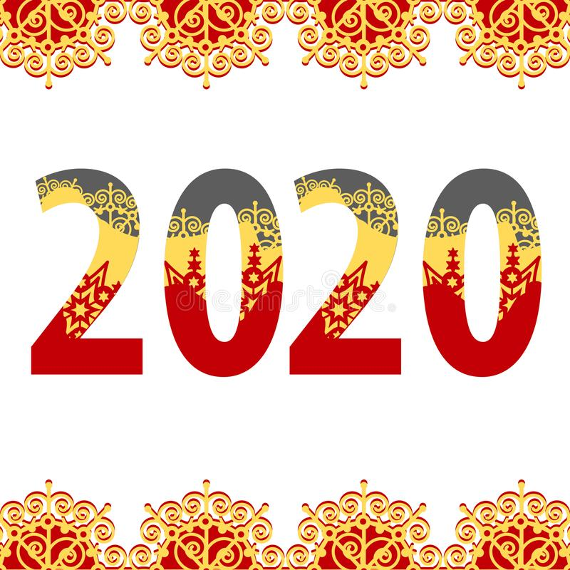 2020 Congratulations Happy New Year. Red and gold tracery paper style pattern. Vector retro illustration. On white background stock illustration