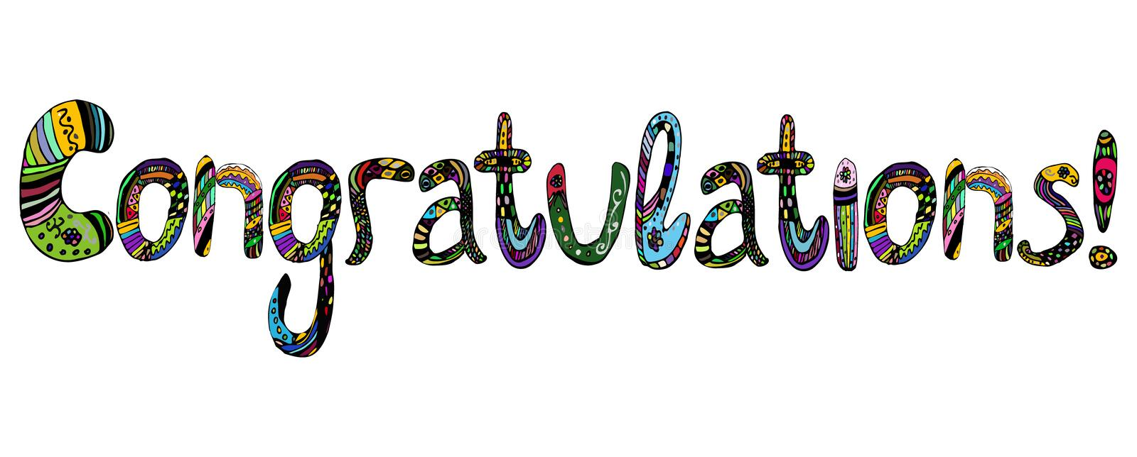 Congratulations on the inscription in multicolored letters lettering doodle. Vector illustration on isolated background. stock illustration